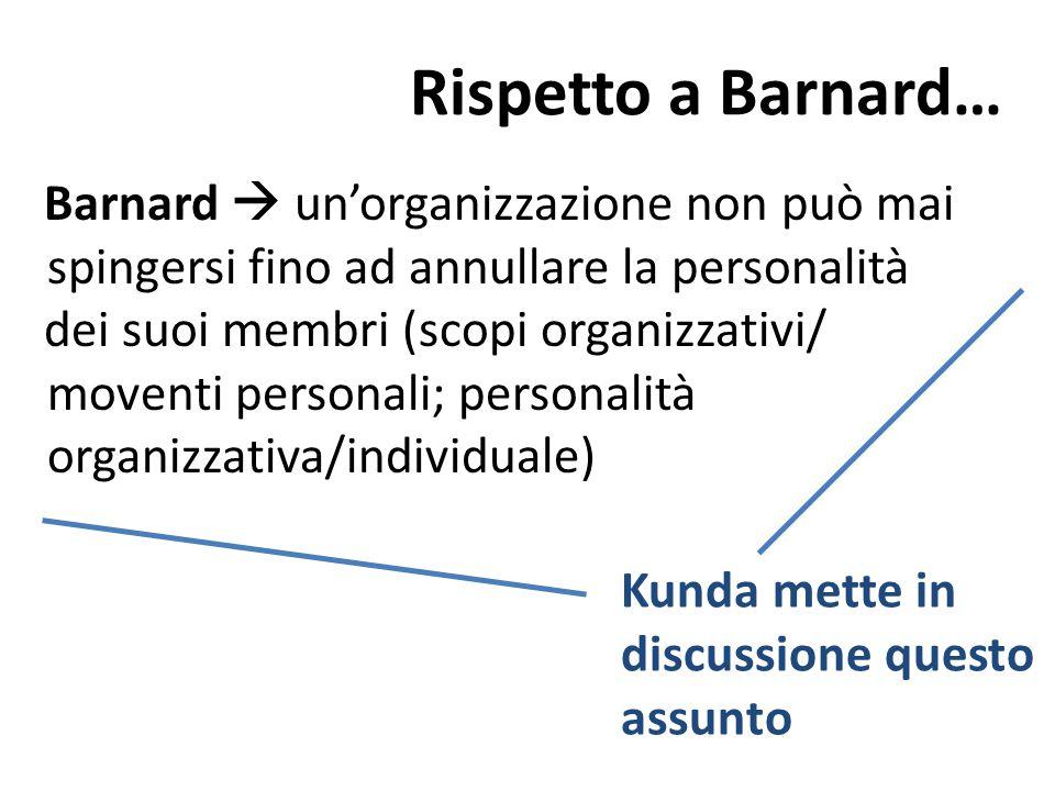 Rispetto a Barnard… Barnard  un'organizzazione non può mai spingersi fino ad annullare la personalità dei suoi membri (scopi organizzativi/ moventi p