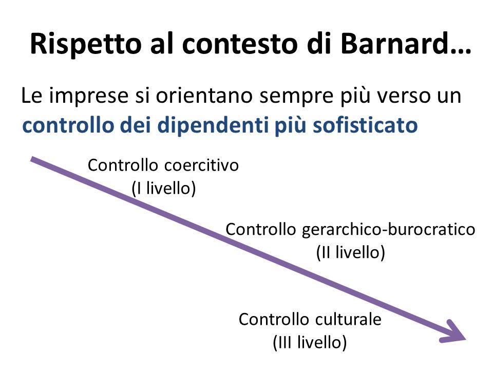 Rispetto al contesto di Barnard… Le imprese si orientano sempre più verso un controllo dei dipendenti più sofisticato Controllo coercitivo (I livello)