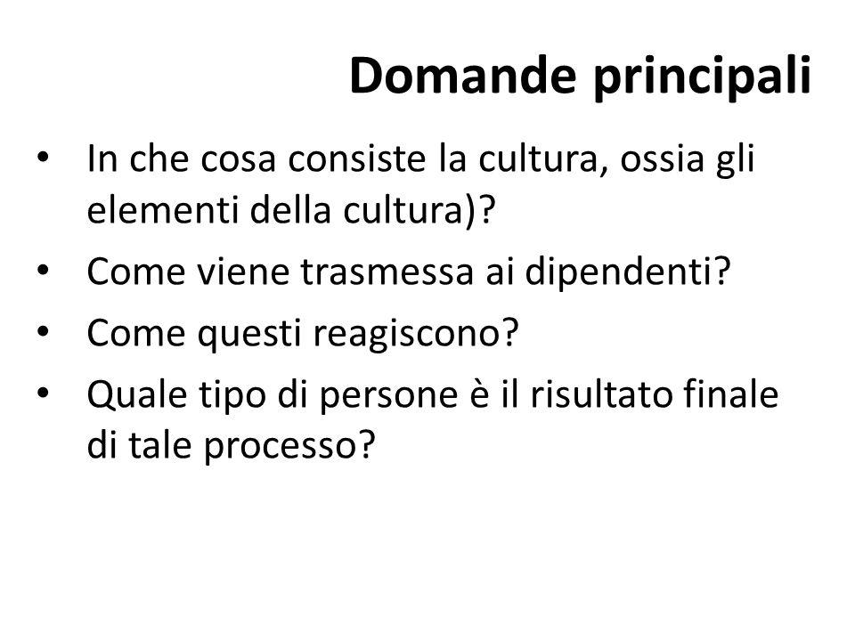 Domande principali In che cosa consiste la cultura, ossia gli elementi della cultura)? Come viene trasmessa ai dipendenti? Come questi reagiscono? Qua