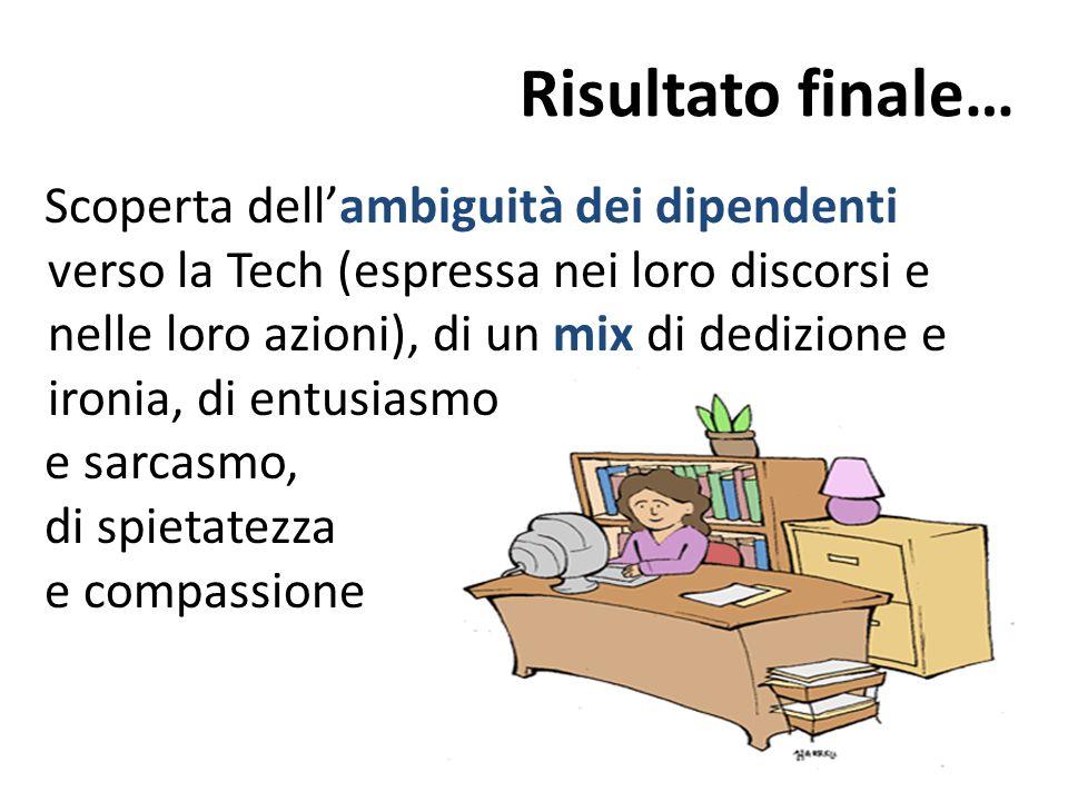 Risultato finale… Scoperta dell'ambiguità dei dipendenti verso la Tech (espressa nei loro discorsi e nelle loro azioni), di un mix di dedizione e iron