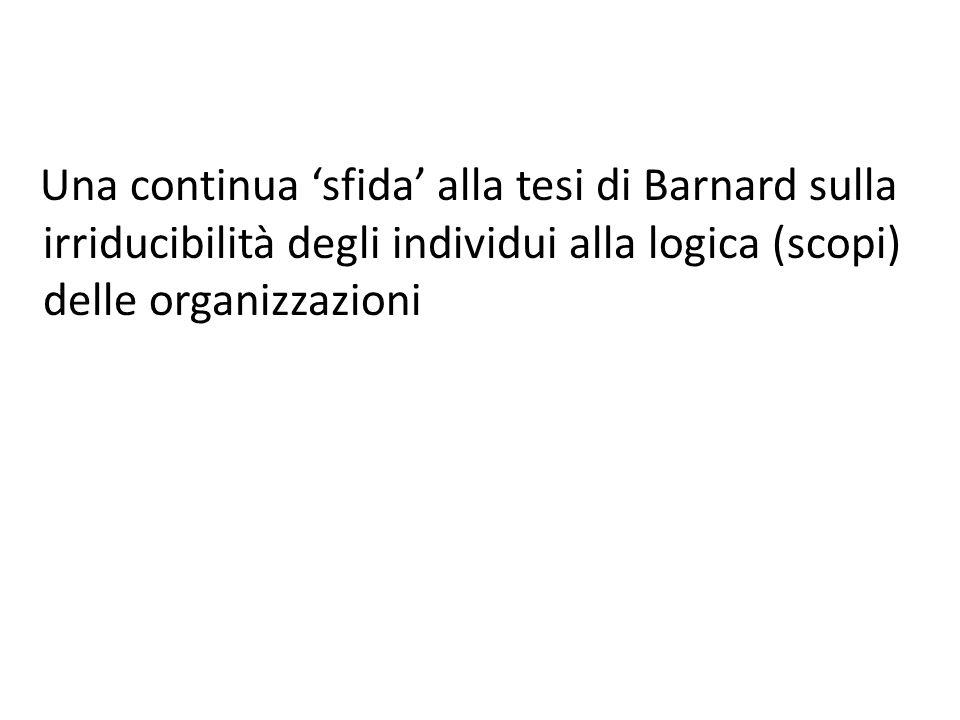 Una continua 'sfida' alla tesi di Barnard sulla irriducibilità degli individui alla logica (scopi) delle organizzazioni