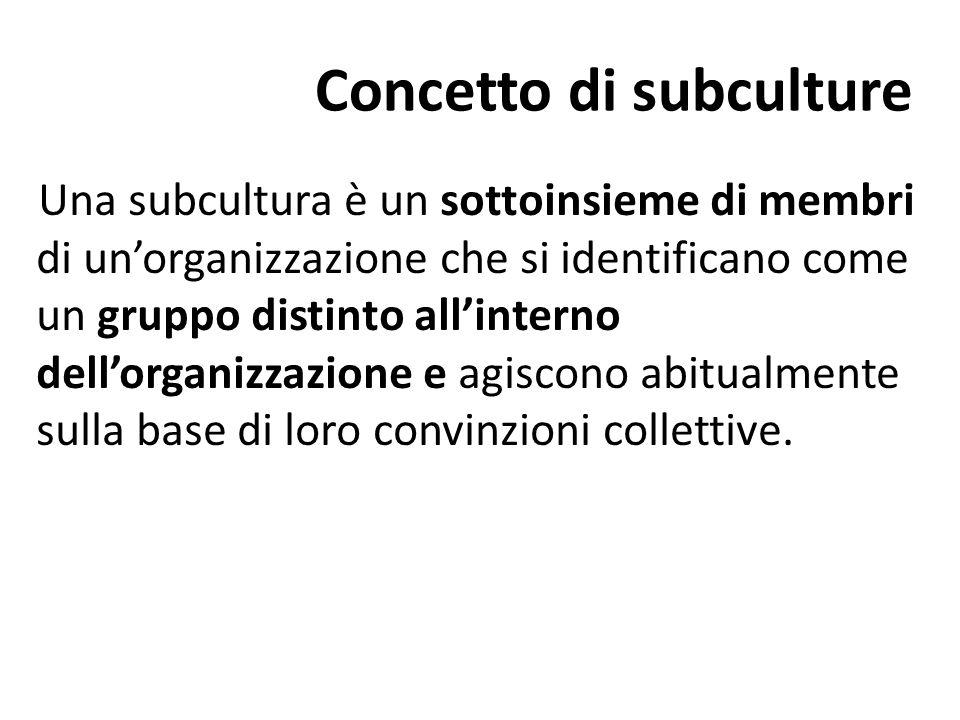 Concetto di subculture Una subcultura è un sottoinsieme di membri di un'organizzazione che si identificano come un gruppo distinto all'interno dell'or
