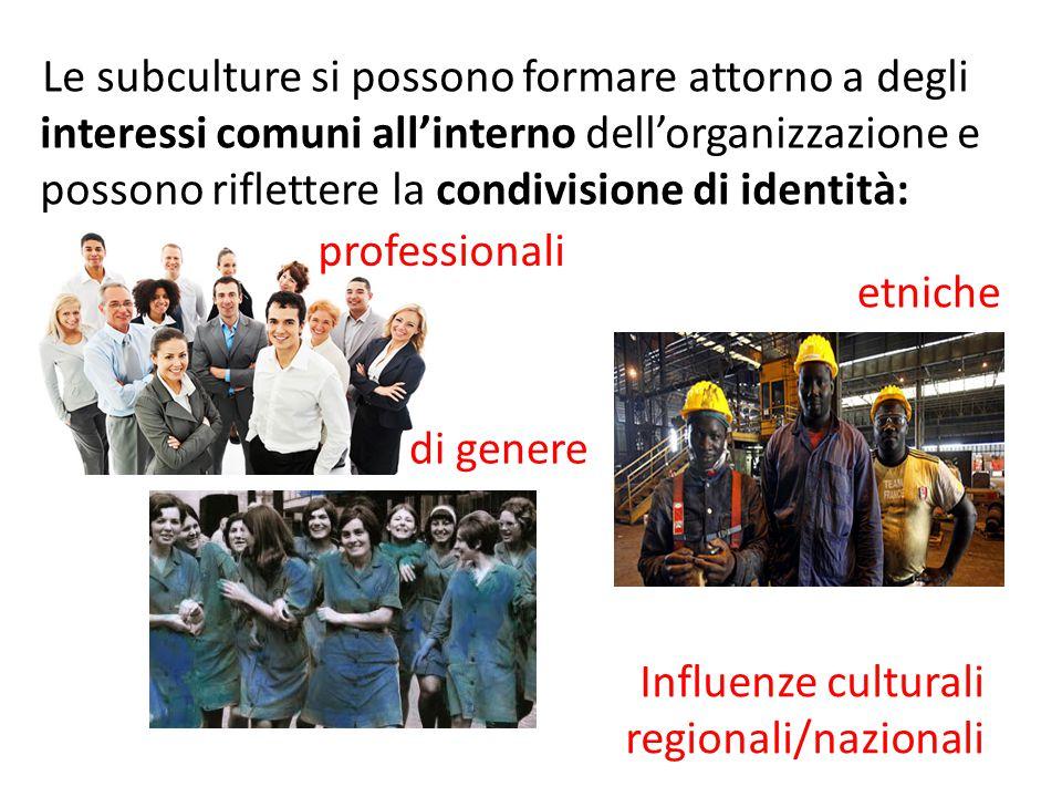 Le subculture si possono formare attorno a degli interessi comuni all'interno dell'organizzazione e possono riflettere la condivisione di identità: pr