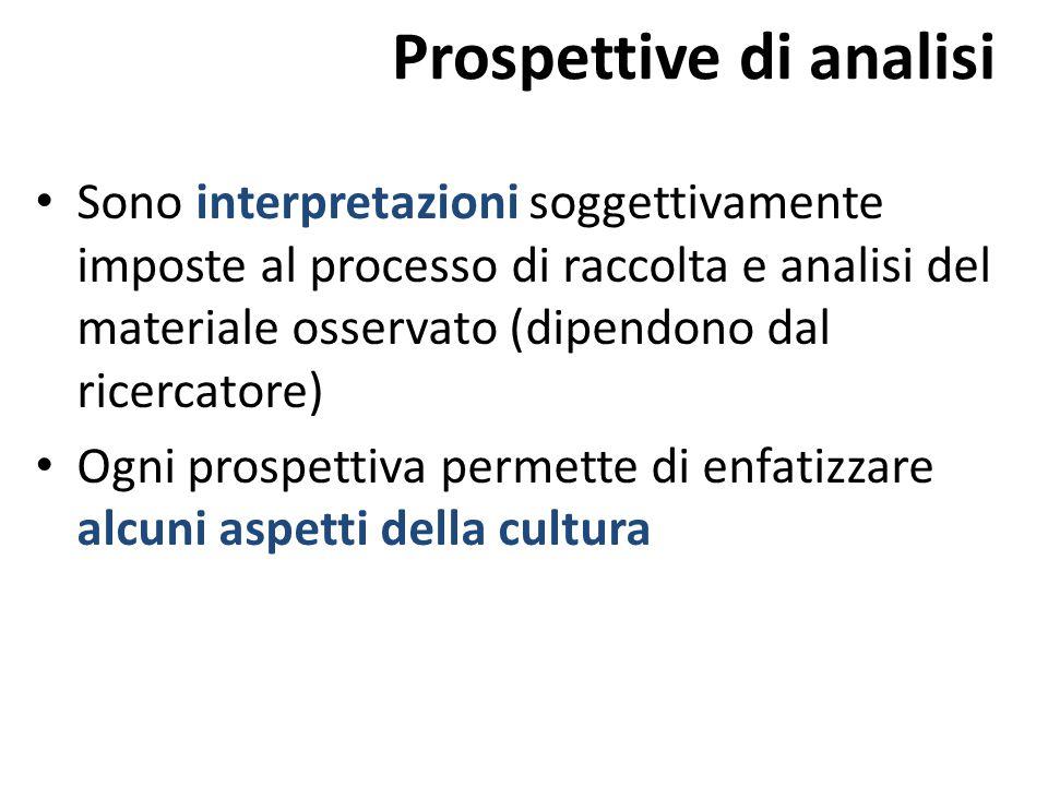 Sono interpretazioni soggettivamente imposte al processo di raccolta e analisi del materiale osservato (dipendono dal ricercatore) Ogni prospettiva pe