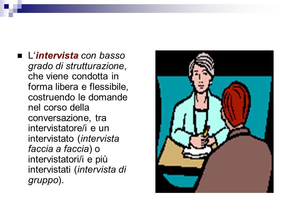 L'intervista con basso grado di strutturazione, che viene condotta in forma libera e flessibile, costruendo le domande nel corso della conversazione, tra intervistatore/i e un intervistato (intervista faccia a faccia) o intervistatori/i e più intervistati (intervista di gruppo).