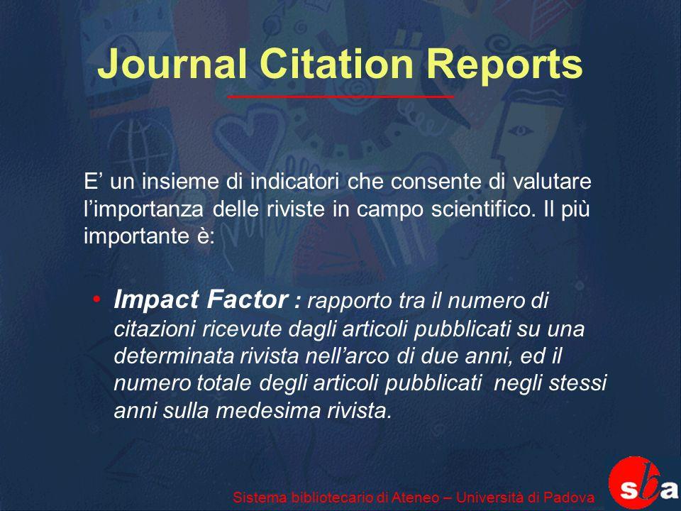 Journal Citation Reports E' un insieme di indicatori che consente di valutare l'importanza delle riviste in campo scientifico. Il più importante è: Im