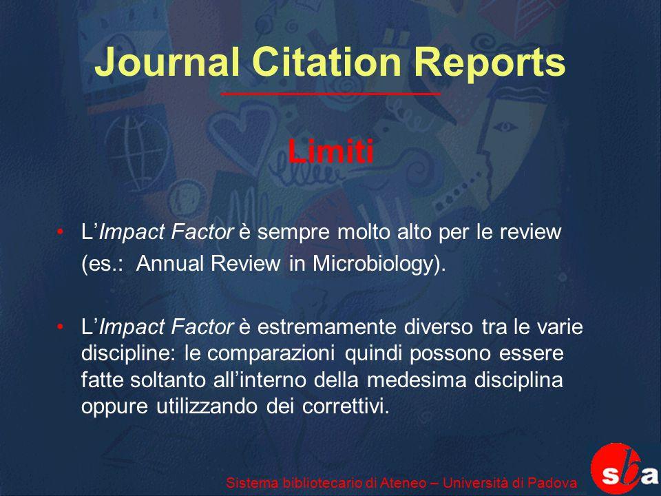 Journal Citation Reports Limiti L'Impact Factor è sempre molto alto per le review (es.: Annual Review in Microbiology). L'Impact Factor è estremamente