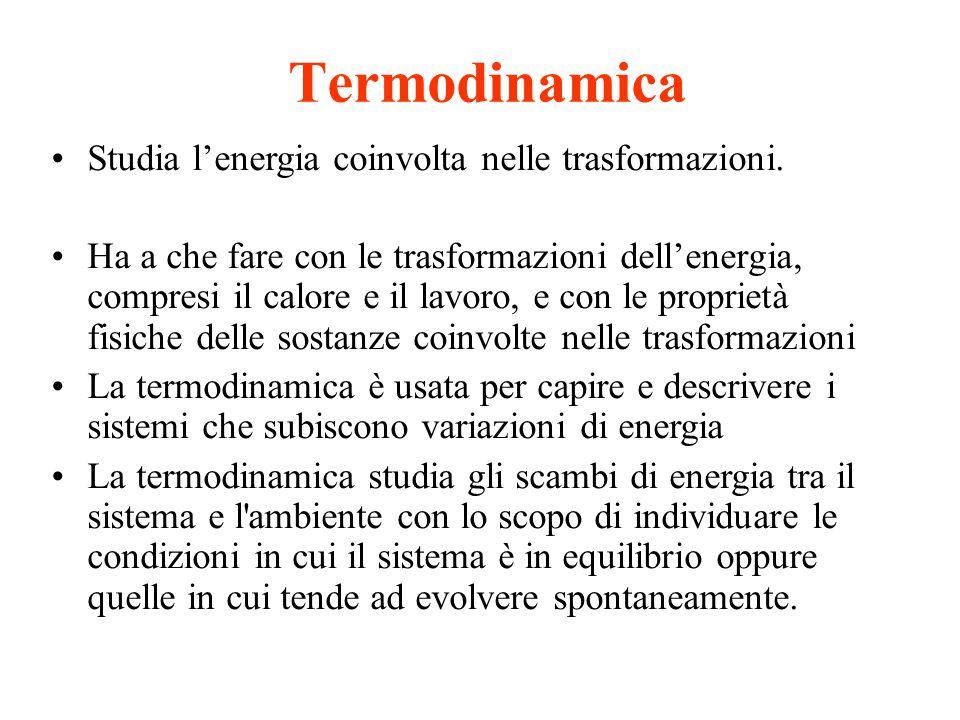 Termodinamica Studia l'energia coinvolta nelle trasformazioni. Ha a che fare con le trasformazioni dell'energia, compresi il calore e il lavoro, e con