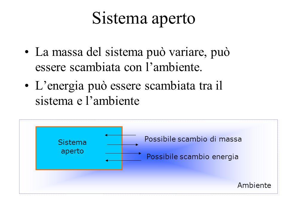 Sistema aperto La massa del sistema può variare, può essere scambiata con l'ambiente. L'energia può essere scambiata tra il sistema e l'ambiente Possi