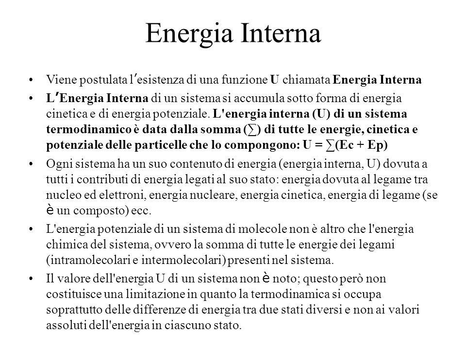 Energia Interna Viene postulata l ' esistenza di una funzione U chiamata Energia Interna L ' Energia Interna di un sistema si accumula sotto forma di