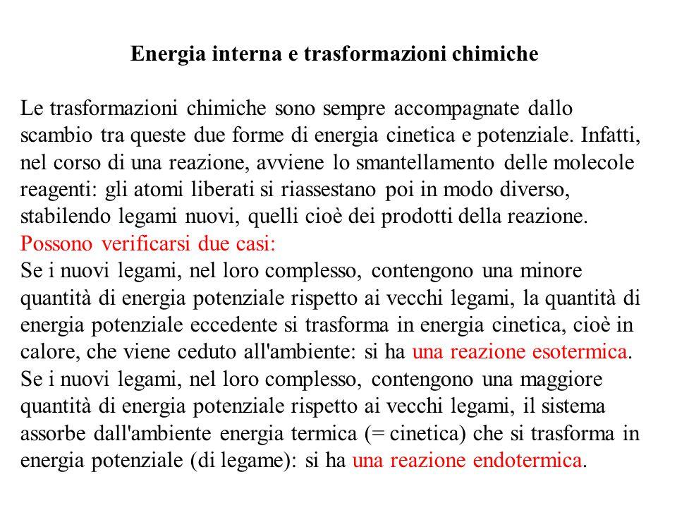 Energia interna e trasformazioni chimiche Le trasformazioni chimiche sono sempre accompagnate dallo scambio tra queste due forme di energia cinetica e