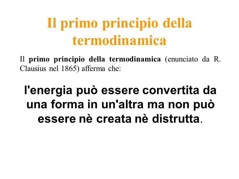 Il primo principio della termodinamica Il primo principio della termodinamica (enunciato da R. Clausius nel 1865) afferma che: l'energia può essere co