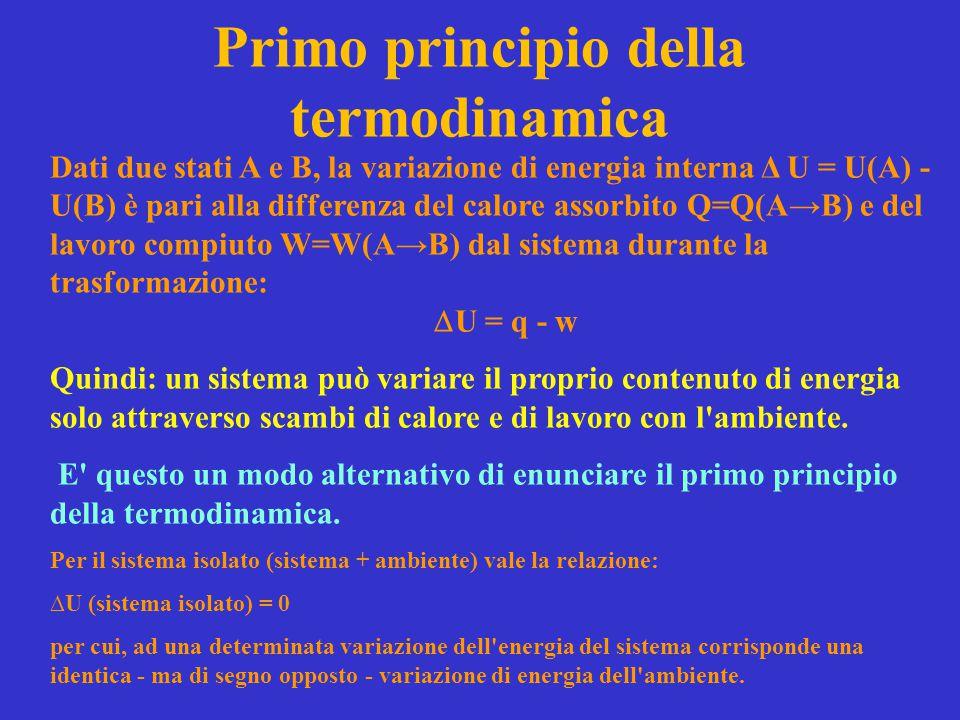 Primo principio della termodinamica Dati due stati A e B, la variazione di energia interna Δ U = U(A) - U(B) è pari alla differenza del calore assorbi