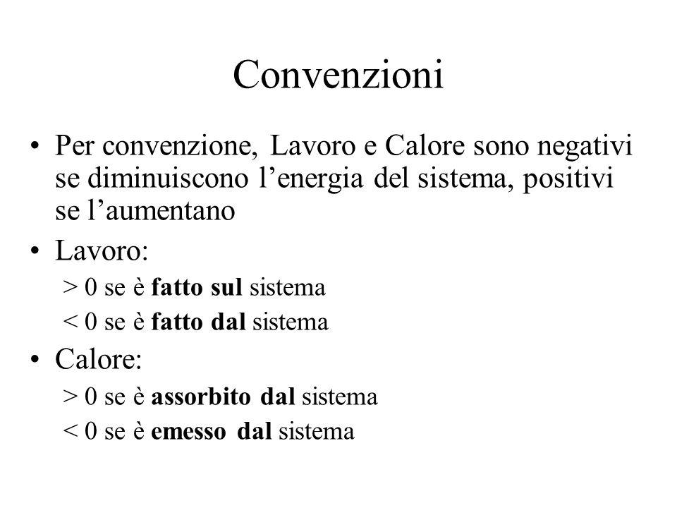 Convenzioni Per convenzione, Lavoro e Calore sono negativi se diminuiscono l'energia del sistema, positivi se l'aumentano Lavoro: > 0 se è fatto sul s