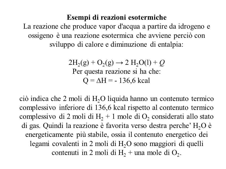Esempi di reazioni esotermiche La reazione che produce vapor d'acqua a partire da idrogeno e ossigeno è una reazione esotermica che avviene perciò con