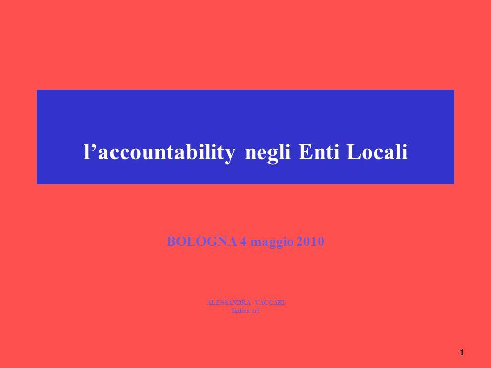 1 l'accountability negli Enti Locali BOLOGNA 4 maggio 2010 ALESSANDRA VACCARI Indica srl