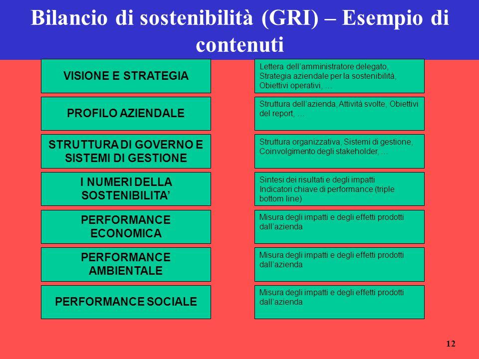 12 Bilancio di sostenibilità (GRI) – Esempio di contenuti VISIONE E STRATEGIA PROFILO AZIENDALE Lettera dell'amministratore delegato, Strategia aziend