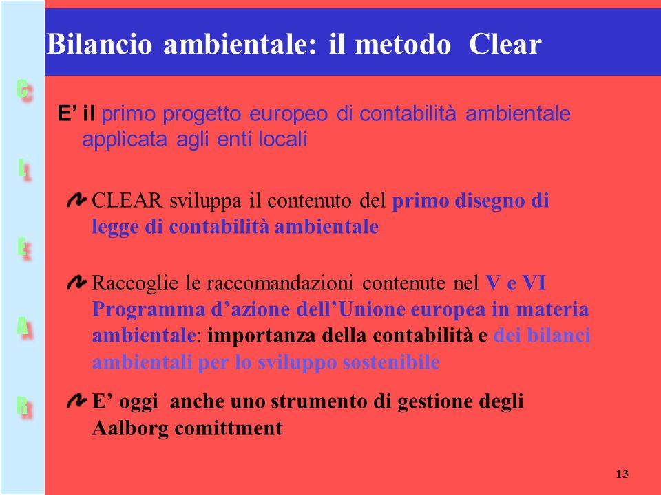 13 Bilancio ambientale: il metodo Clear CLEAR sviluppa il contenuto del primo disegno di legge di contabilità ambientale Raccoglie le raccomandazioni