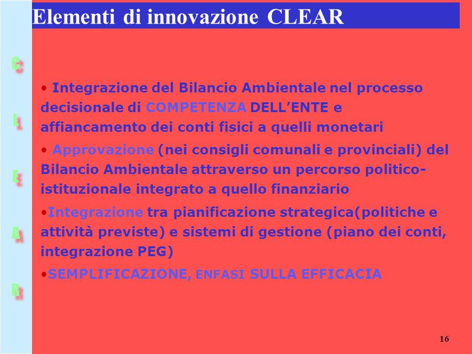 16 Elementi di innovazione CLEAR Integrazione del Bilancio Ambientale nel processo decisionale di COMPETENZA DELL'ENTE e affiancamento dei conti fisic