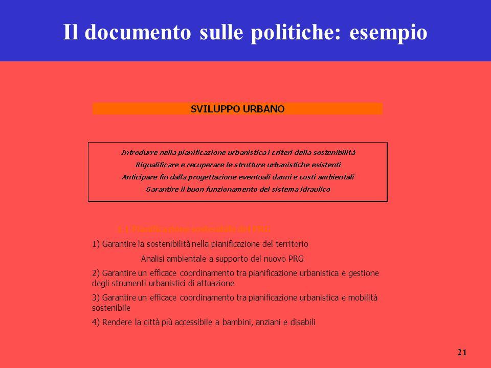21 Il documento sulle politiche: esempio 1.1 Pianificazione sostenibile del PRG 1) Garantire la sostenibilità nella pianificazione del territorio Anal