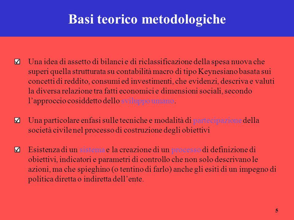 5 Basi teorico metodologiche Una idea di assetto di bilanci e di riclassificazione della spesa nuova che superi quella strutturata su contabilità macr