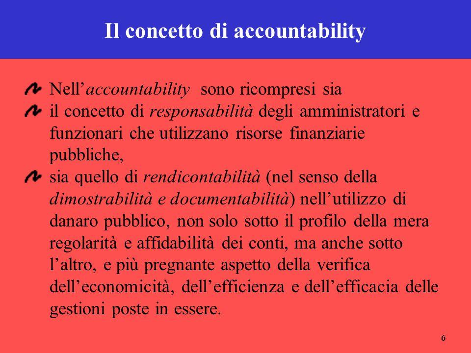 6 Il concetto di accountability Nell'accountability sono ricompresi sia il concetto di responsabilità degli amministratori e funzionari che utilizzano