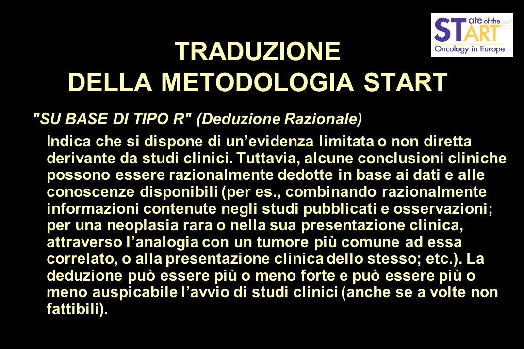 TRADUZIONE DELLA METODOLOGIA START SU BASE DI TIPO R (Deduzione Razionale) Indica che si dispone di un'evidenza limitata o non diretta derivante da studi clinici.