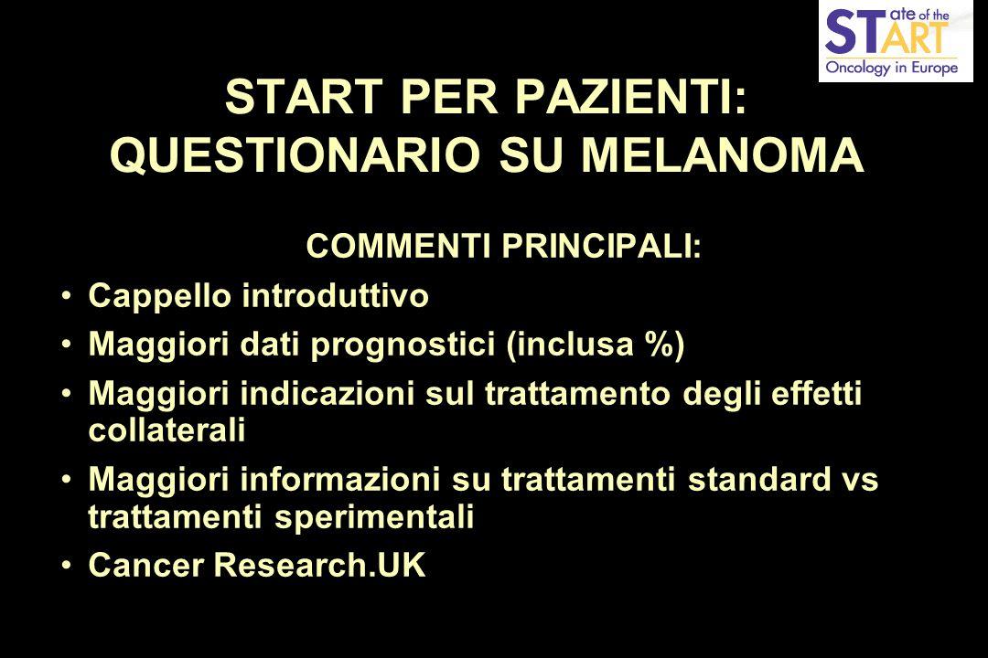 START PER PAZIENTI: QUESTIONARIO SU MELANOMA COMMENTI PRINCIPALI: Cappello introduttivo Maggiori dati prognostici (inclusa %) Maggiori indicazioni sul