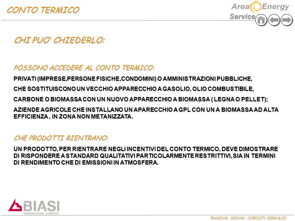 RinNOVA, INOVIA - CIRCUITI IDRAULICI Service CONTO TERMICO CHI PUO ' CHIEDERLO: POSSONO ACCEDERE AL CONTO TERMICO: PRIVATI (IMPRESE,PERSONE FISICHE,CONDOMINI) O AMMINISTRAZIONI PUBBLICHE, CHE SOSTITUISCONO UN VECCHIO APPARECCHIO A GASOLIO, OLIO COMBUSTIBILE, CARBONE O BIOMASSA CON UN NUOVO APPARECCHIO A BIOMASSA ( LEGNA O PELLET); AZIENDE AGRICOLE CHE INSTALLANO UN APARECCHIO A GPL CON UN A BIOMASSA AD ALTA EFFICIENZA, IN ZONA NON METANIZZATA.