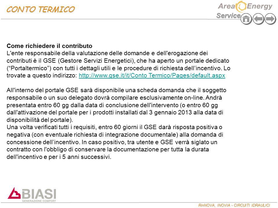 RinNOVA, INOVIA - CIRCUITI IDRAULICI Service CONTO TERMICO