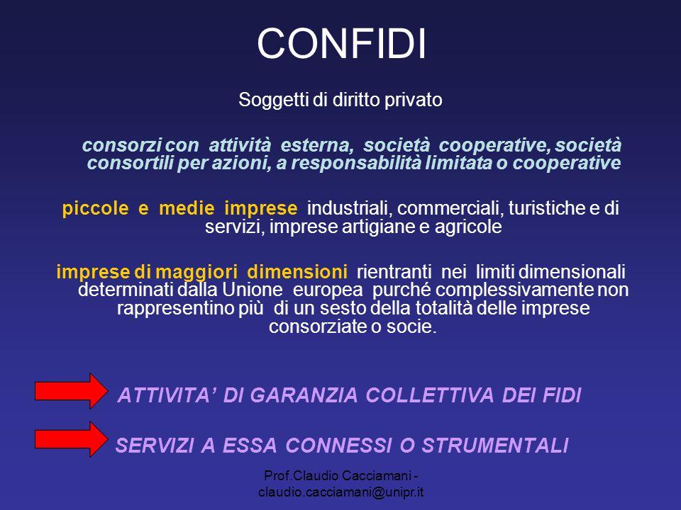 Prof.Claudio Cacciamani - claudio.cacciamani@unipr.it CONFIDI Soggetti di diritto privato consorzi con attività esterna, società cooperative, società