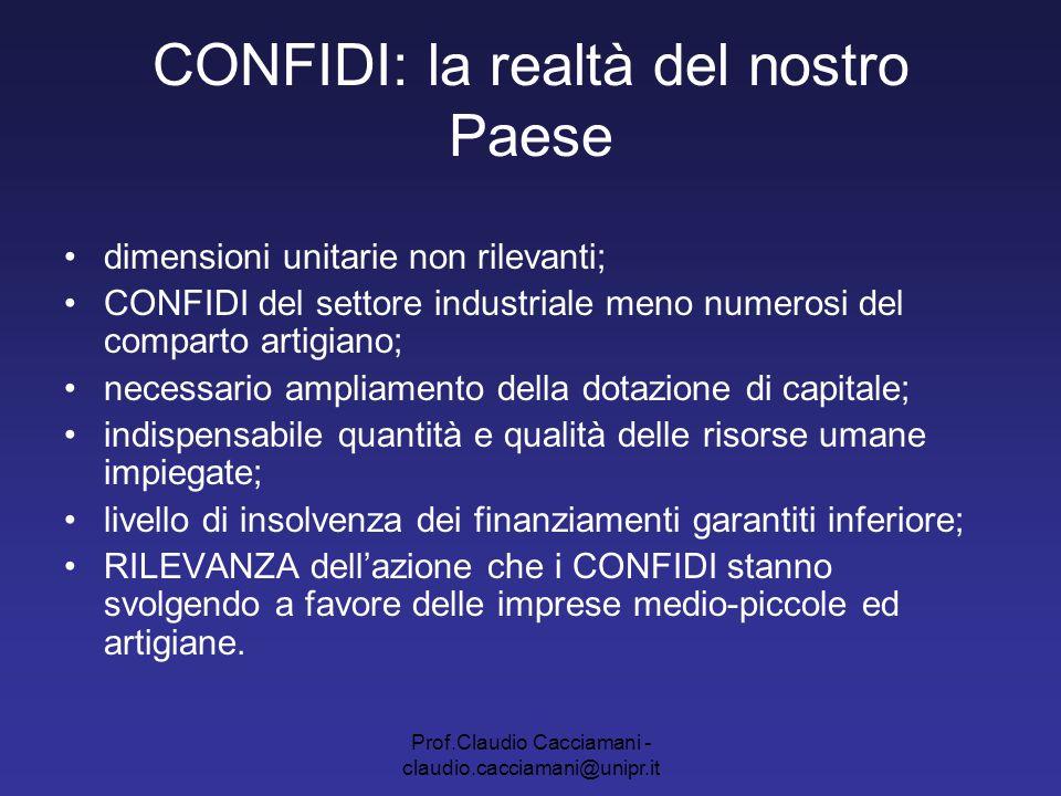 Prof.Claudio Cacciamani - claudio.cacciamani@unipr.it CONFIDI: la realtà del nostro Paese dimensioni unitarie non rilevanti; CONFIDI del settore indus