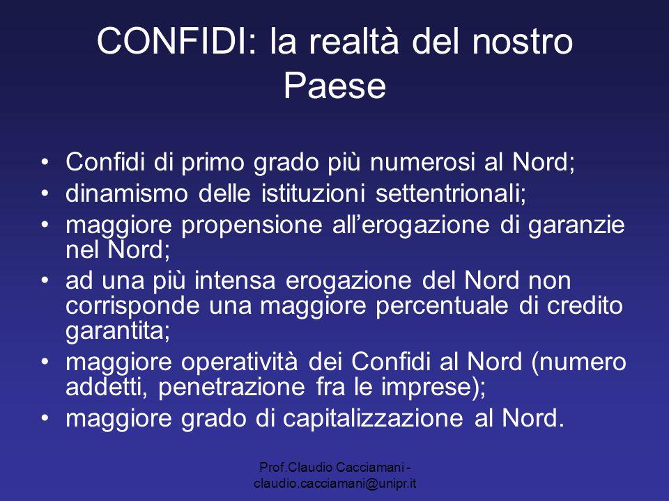 Prof.Claudio Cacciamani - claudio.cacciamani@unipr.it CONFIDI: la realtà del nostro Paese Confidi di primo grado più numerosi al Nord; dinamismo delle