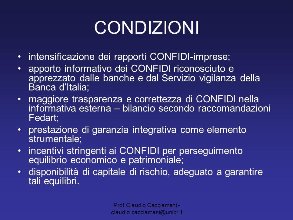 Prof.Claudio Cacciamani - claudio.cacciamani@unipr.it CONDIZIONI intensificazione dei rapporti CONFIDI-imprese; apporto informativo dei CONFIDI ricono