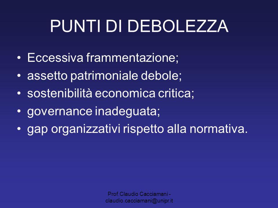 Prof.Claudio Cacciamani - claudio.cacciamani@unipr.it PUNTI DI DEBOLEZZA Eccessiva frammentazione; assetto patrimoniale debole; sostenibilità economic