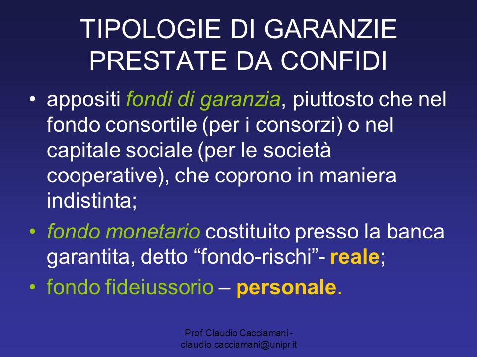 Prof.Claudio Cacciamani - claudio.cacciamani@unipr.it TIPOLOGIE DI GARANZIE PRESTATE DA CONFIDI appositi fondi di garanzia, piuttosto che nel fondo co