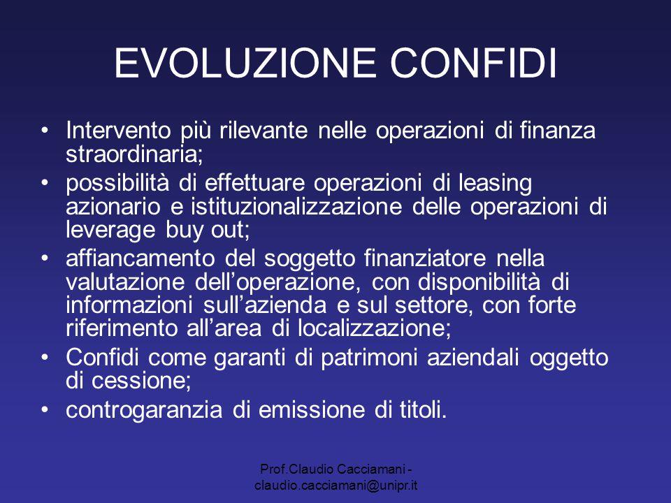 Prof.Claudio Cacciamani - claudio.cacciamani@unipr.it EVOLUZIONE CONFIDI Intervento più rilevante nelle operazioni di finanza straordinaria; possibili