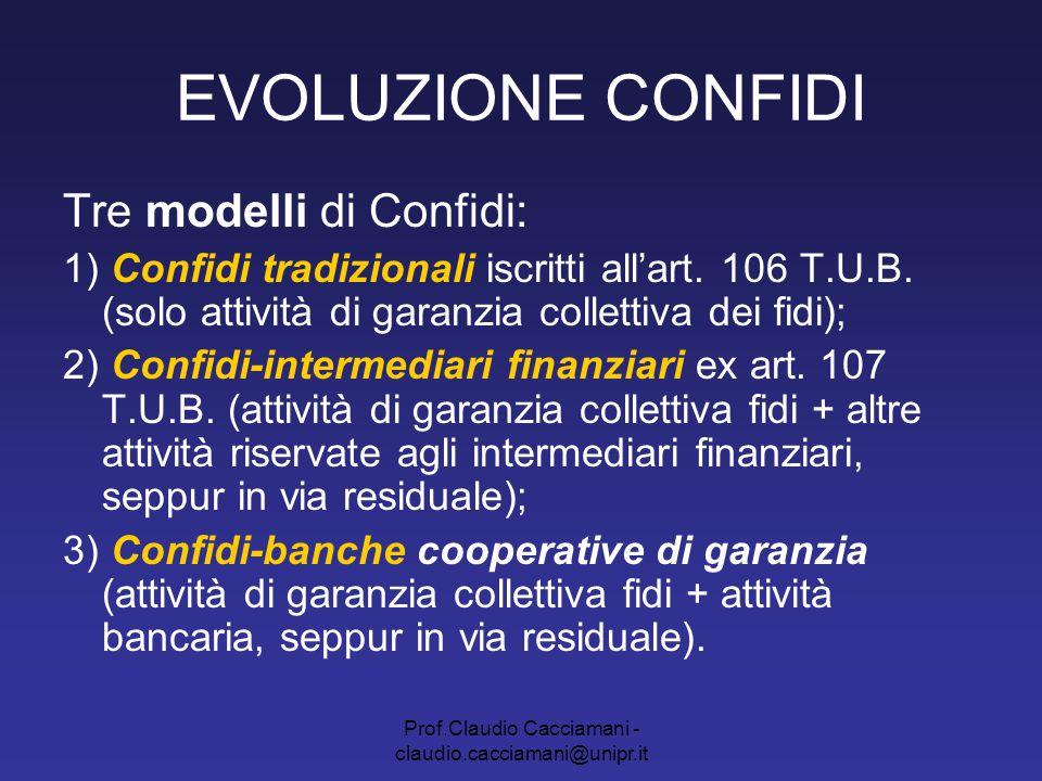 Prof.Claudio Cacciamani - claudio.cacciamani@unipr.it EVOLUZIONE CONFIDI Tre modelli di Confidi: 1) Confidi tradizionali iscritti all'art. 106 T.U.B.