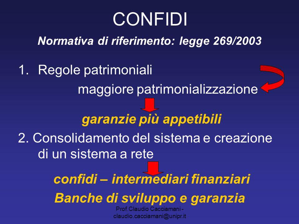 Prof.Claudio Cacciamani - claudio.cacciamani@unipr.it CONFIDI Normativa di riferimento: legge 269/2003 1.Regole patrimoniali maggiore patrimonializzaz