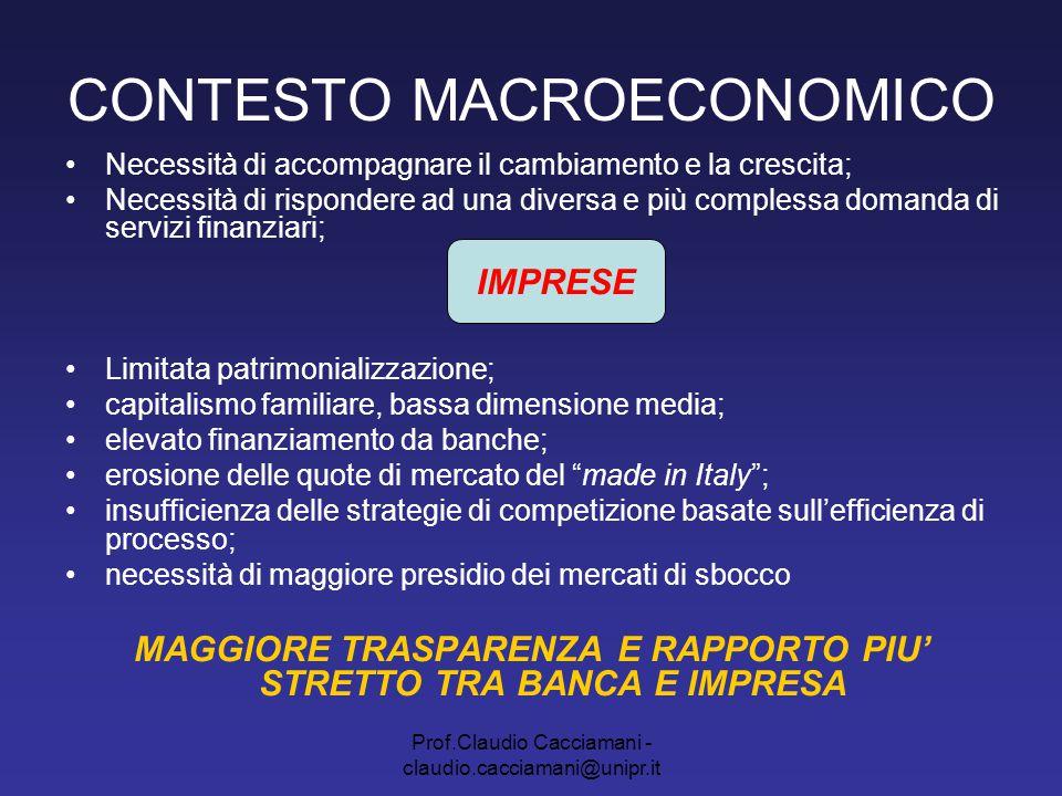 Prof.Claudio Cacciamani - claudio.cacciamani@unipr.it CONTESTO MACROECONOMICO Necessità di accompagnare il cambiamento e la crescita; Necessità di ris
