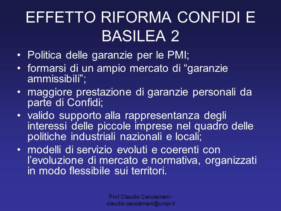Prof.Claudio Cacciamani - claudio.cacciamani@unipr.it EFFETTO RIFORMA CONFIDI E BASILEA 2 Politica delle garanzie per le PMI; formarsi di un ampio mer