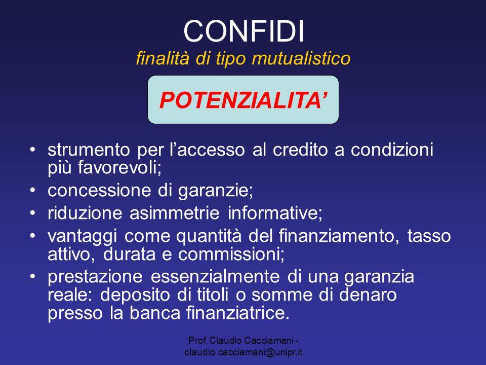Prof.Claudio Cacciamani - claudio.cacciamani@unipr.it CONFIDI finalità di tipo mutualistico strumento per l'accesso al credito a condizioni più favore
