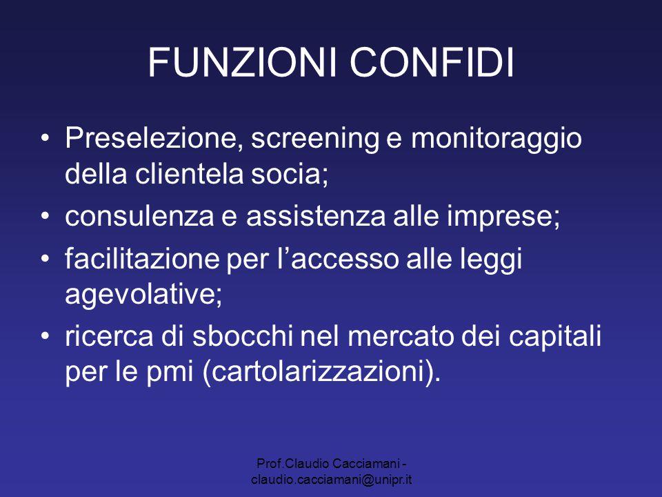 Prof.Claudio Cacciamani - claudio.cacciamani@unipr.it FUNZIONI CONFIDI Preselezione, screening e monitoraggio della clientela socia; consulenza e assi