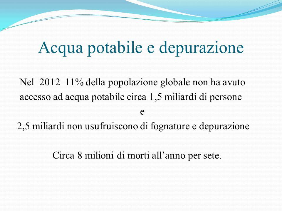 Acqua potabile e depurazione Nel 2012 11% della popolazione globale non ha avuto accesso ad acqua potabile circa 1,5 miliardi di persone e 2,5 miliard