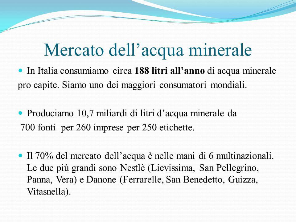Mercato dell'acqua minerale In Italia consumiamo circa 188 litri all'anno di acqua minerale pro capite. Siamo uno dei maggiori consumatori mondiali. P