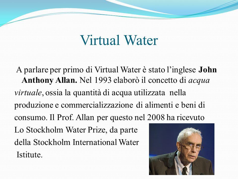 Virtual Water A parlare per primo di Virtual Water è stato l'inglese John Anthony Allan. Nel 1993 elaborò il concetto di acqua virtuale, ossia la quan