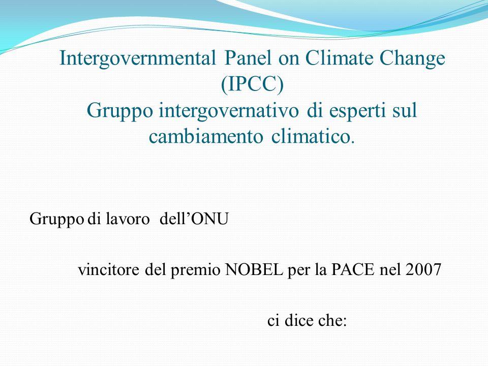 Intergovernmental Panel on Climate Change (IPCC) Gruppo intergovernativo di esperti sul cambiamento climatico. Gruppo di lavoro dell'ONU vincitore del