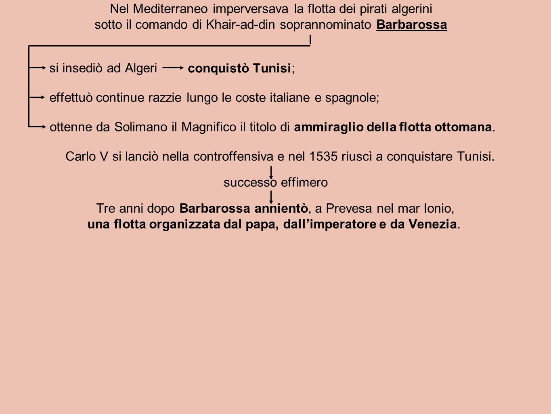 Nel Mediterraneo imperversava la flotta dei pirati algerini sotto il comando di Khair-ad-din soprannominato Barbarossa si insediò ad Algeri conquistò