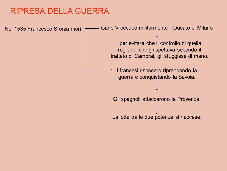RIPRESA DELLA GUERRA Nel 1535 Francesco Sforza morì Carlo V occupò militarmente il Ducato di Milano per evitare che il controllo di quella regione, ch