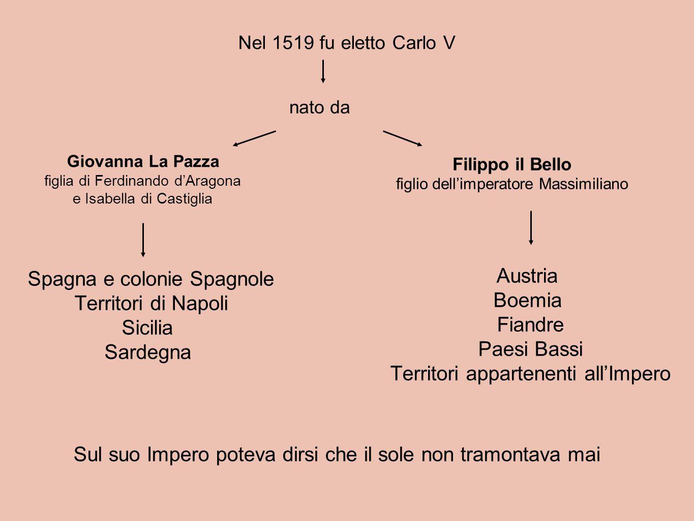 Nel 1519 fu eletto Carlo V nato da Giovanna La Pazza figlia di Ferdinando d'Aragona e Isabella di Castiglia Filippo il Bello figlio dell'imperatore Ma